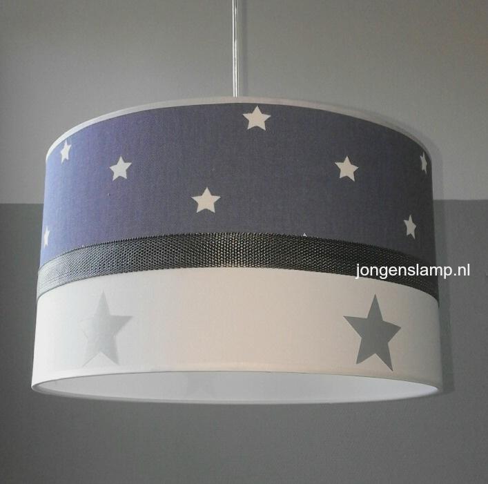 jongenslamp jeansblauw zilver sterren