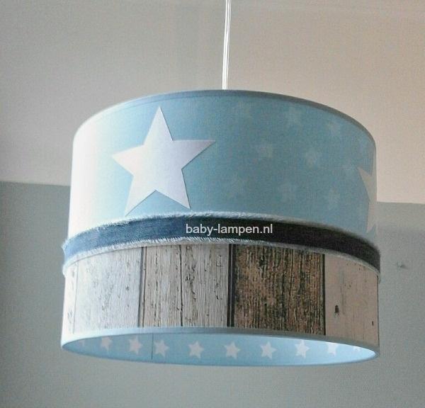 Jongenslamp lichtblauw witte sterren steigerhout
