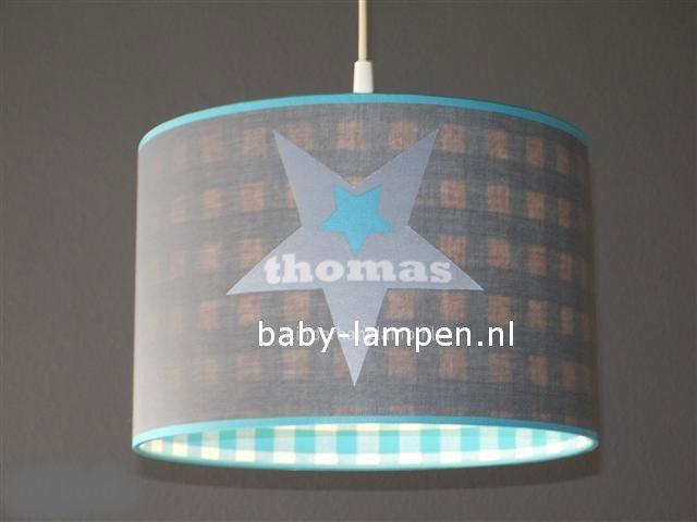 Jongenslamp met naam in ster 3x Thomas grijs en blauw