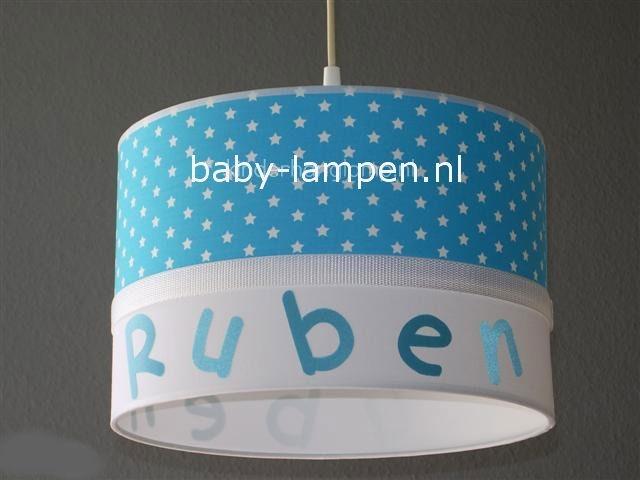 Jongenslamp met naam Ruben aqua sterren