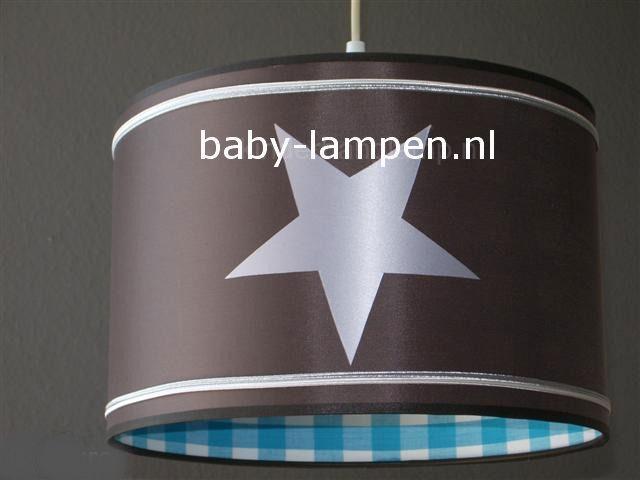Jongenslamp taupe 3x zilver ster binnen aqua ruitjes