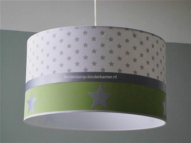 Jongenslamp wit grijze sterren groen zilver sterren
