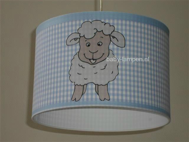 Jongenslamp 3x schaapje lichtblauw ruitje