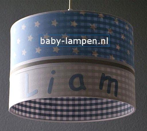 Jongenslamp met naam Liam lichtblauw en grijs