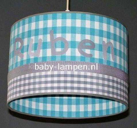 Jongenslamp met naam Ruben grijs en aqua ruit