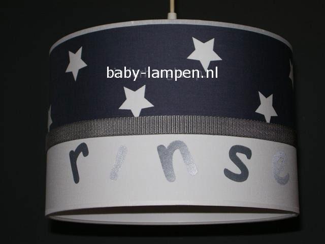 Jongenslamp met naam Rinse antraciet witte sterren