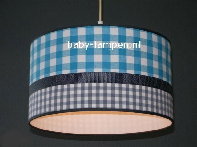 Jongenslamp aquablauwe ruit grijze ruitjes