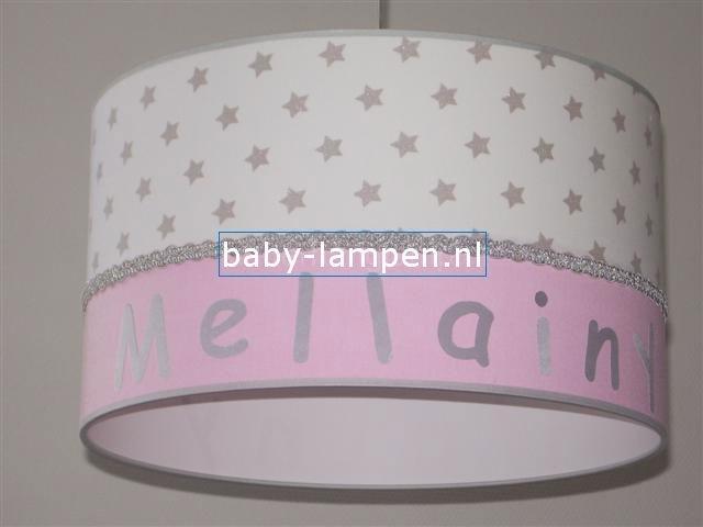 meisjeslamp met naam wit grijze sterren roze