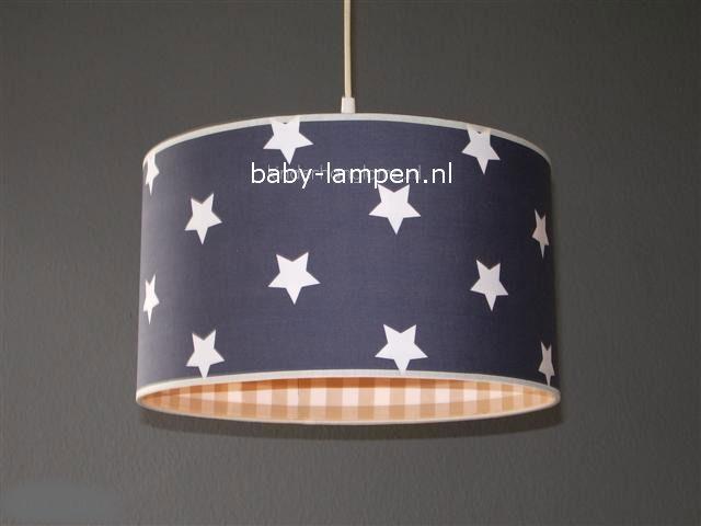 Jongenslamp antraciet witte sterren beige ruitjes