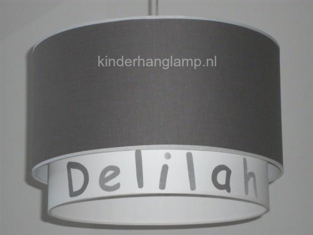 jongenslamp met naam taupe wit