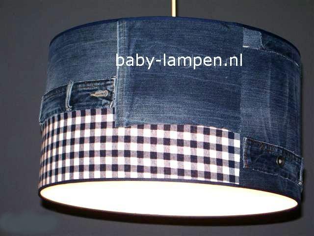 jongenslamp jeans spijkerbroek donkerblauw ruitje