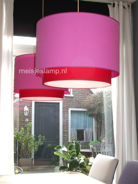 Hanglampen fuchsia en rood