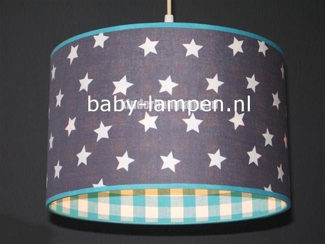Jongenslamp grijs witte sterren aquablauwe ruit
