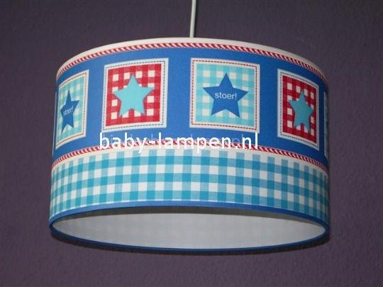 jongenslamp behangrand blauw en rood
