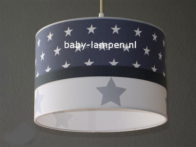 Jongenslamp antraciet witte sterren zilveren sterren