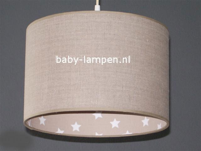 Jongenslamp effen beige en beige witte sterren