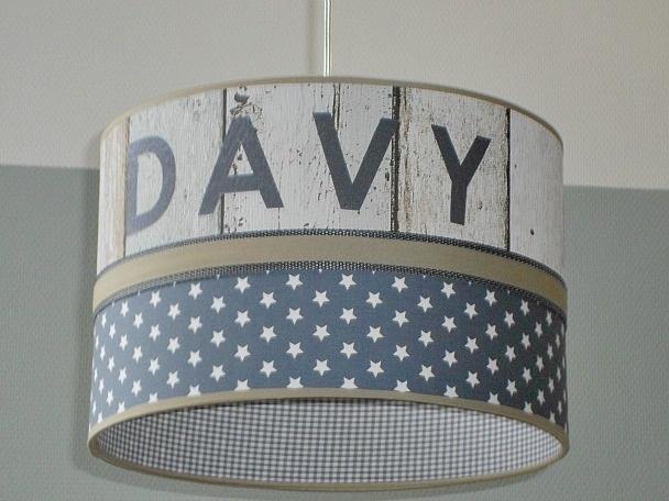 Jongenslamp met naam Davy steigerhout en antraciet sterren