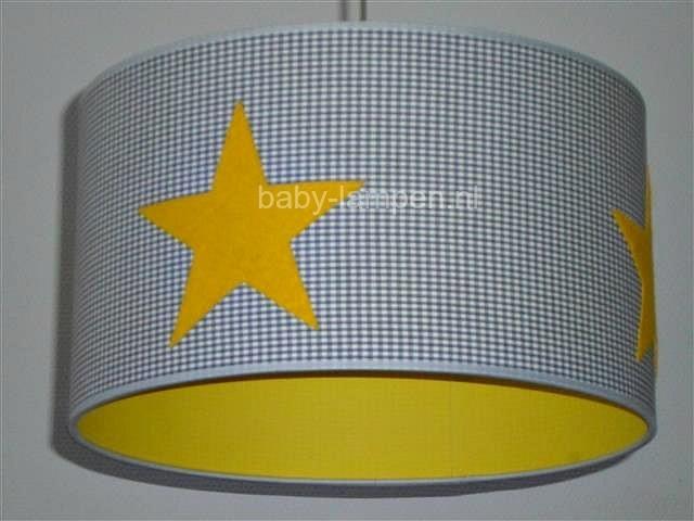 Jongenslamp geel 3x ster en grijs mini ruitjes