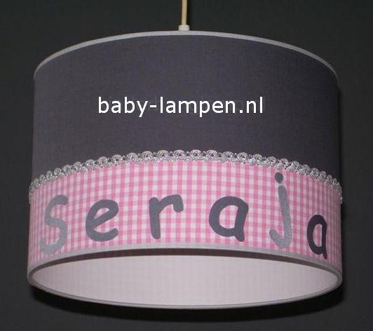 meisjeslamp met naam antraciet roze ruitje
