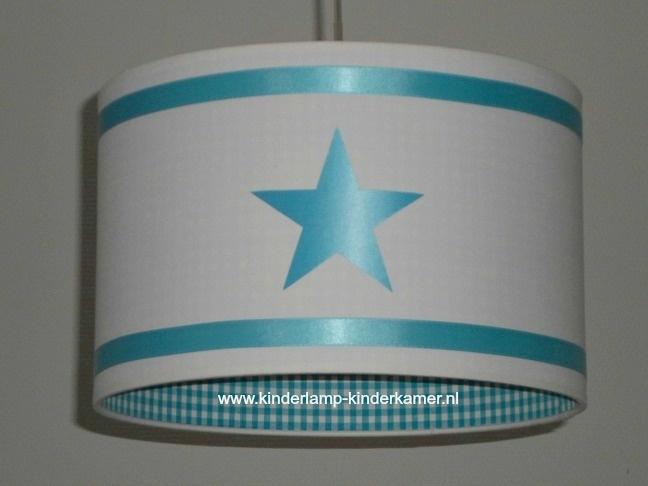 Jongenslamp 3x  blauwe ster en bandjes blauwe ruitjes