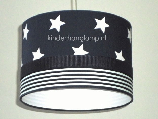 Jongenslamp donkerblauw witte sterren en strepen