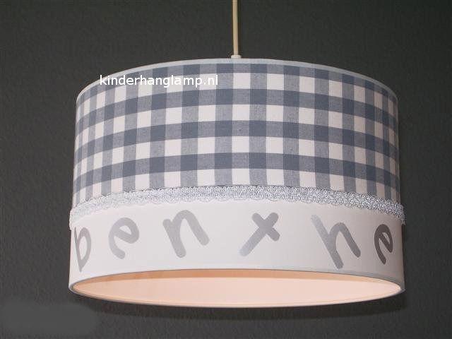 meisjeslamp met naam grijze ruit