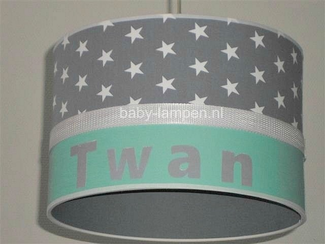 Jongenslamp met naam Twan mintgroen en grijs