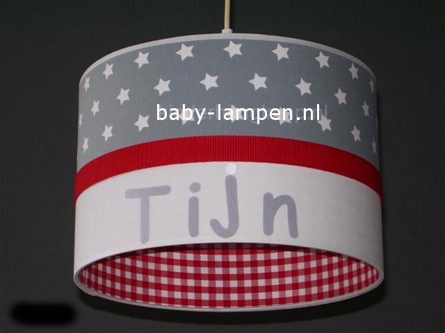 Jongenslamp met naam Tijn grijs en rood