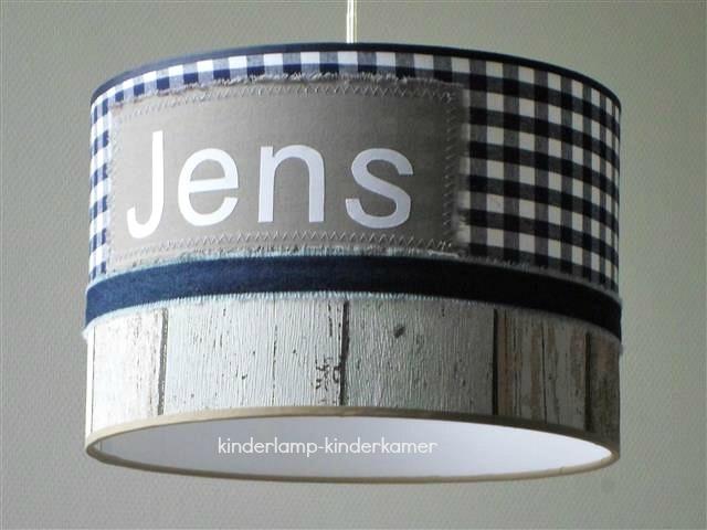 Jongenslamp met naam Jens steigerhout beige donkerblauw