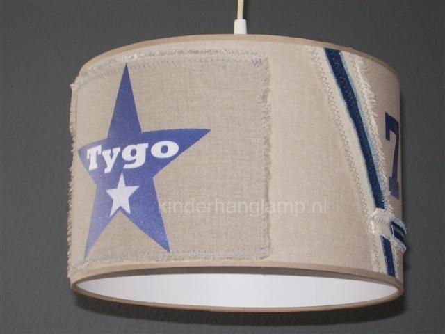 jongenslamp stoer beige donkerblauw met naam in ster