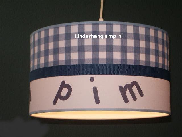 Jongenslamp met naam Pim grijs ruitje