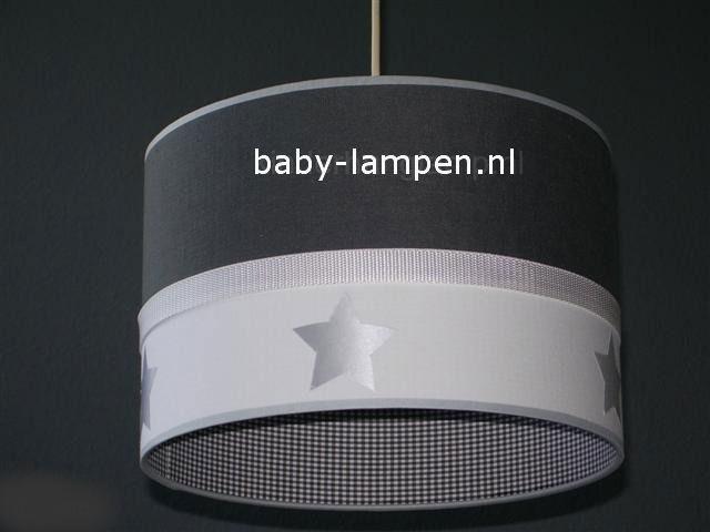 Jongenslamp effen antraciet wit zilveren sterren mini ruitje