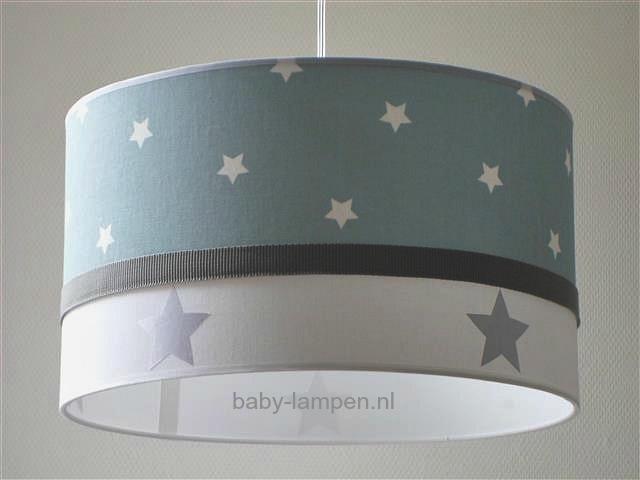 Jongenslamp stonegreen witte sterren zilveren sterren