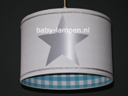 Jongenslamp wit 3x zilver ster en aquablauwe ruit