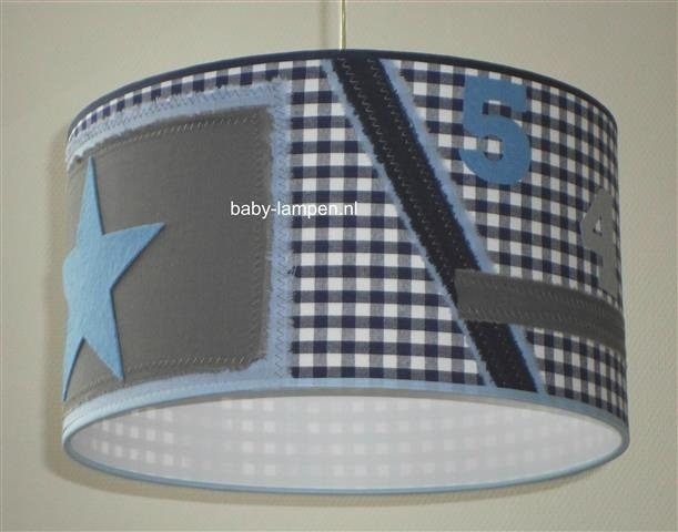jongenslamp stoer donkerblauwe ruit grijs lichtblauw