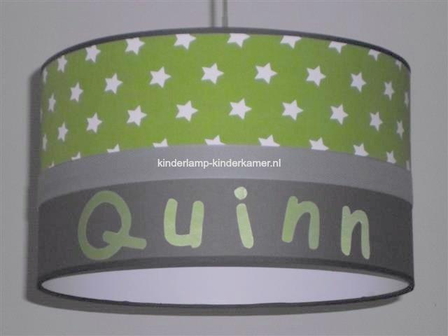Jongenslamp met naam Quinn limegroen en antraciet
