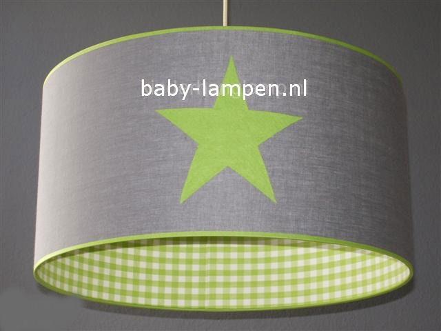 Jongenslamp grijs 3x limegroene ster en ruitjes