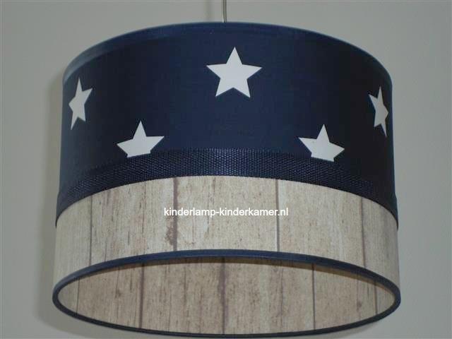 Jongenslamp donkerblauw witte sterren steigerhout