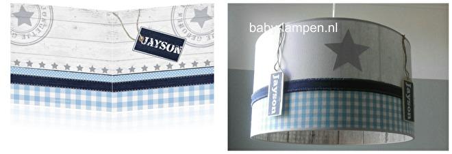 jongenslamp licht blauw zilveren sterren met naam