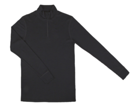 Heren zipp longsleeve Zwart | Wol