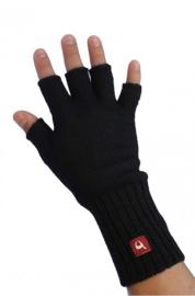 Halve vingerhandschoenen Zwart | Alpacawol