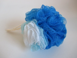 Badpuff blauw/wit