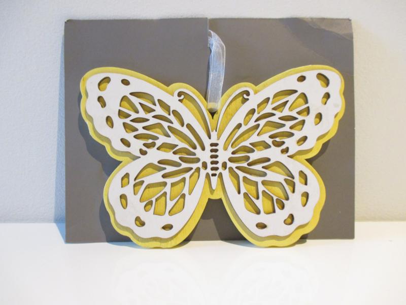 Vlinder 14 cm hout