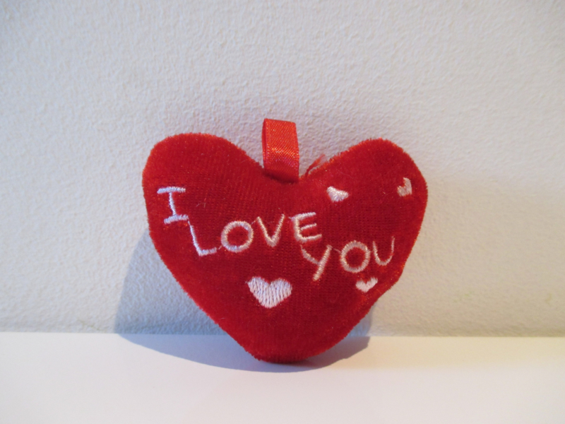 Pluche hartje 6,5 cm I Love You