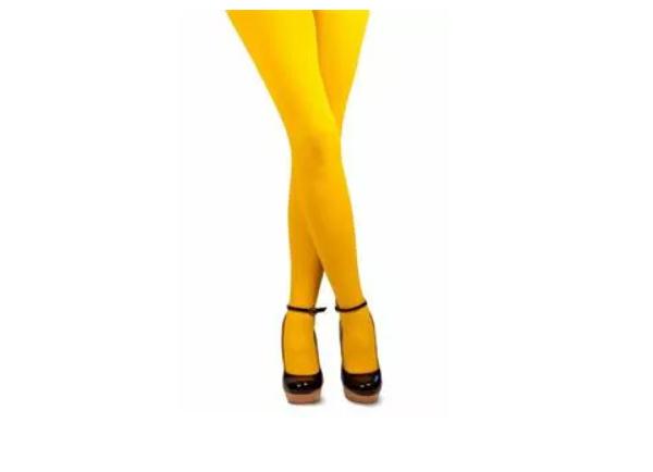 Gekleurde panty, geel.