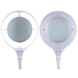 Loeplamp-125mm lens-5 dioptrie-dimbaar-vierkante voet met opbergvakken