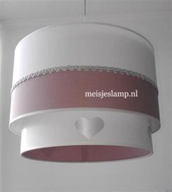 meisjeslamp oud roze zilver hartjes