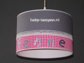 meisjeslamp met naam grijs stipjes fuchsia ruit