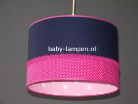 lamp meisjeskamer donkerblauw fuchsia en roze sterren