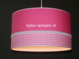 lamp meisjeskamer fuchsia stipjes en roze ruitjes